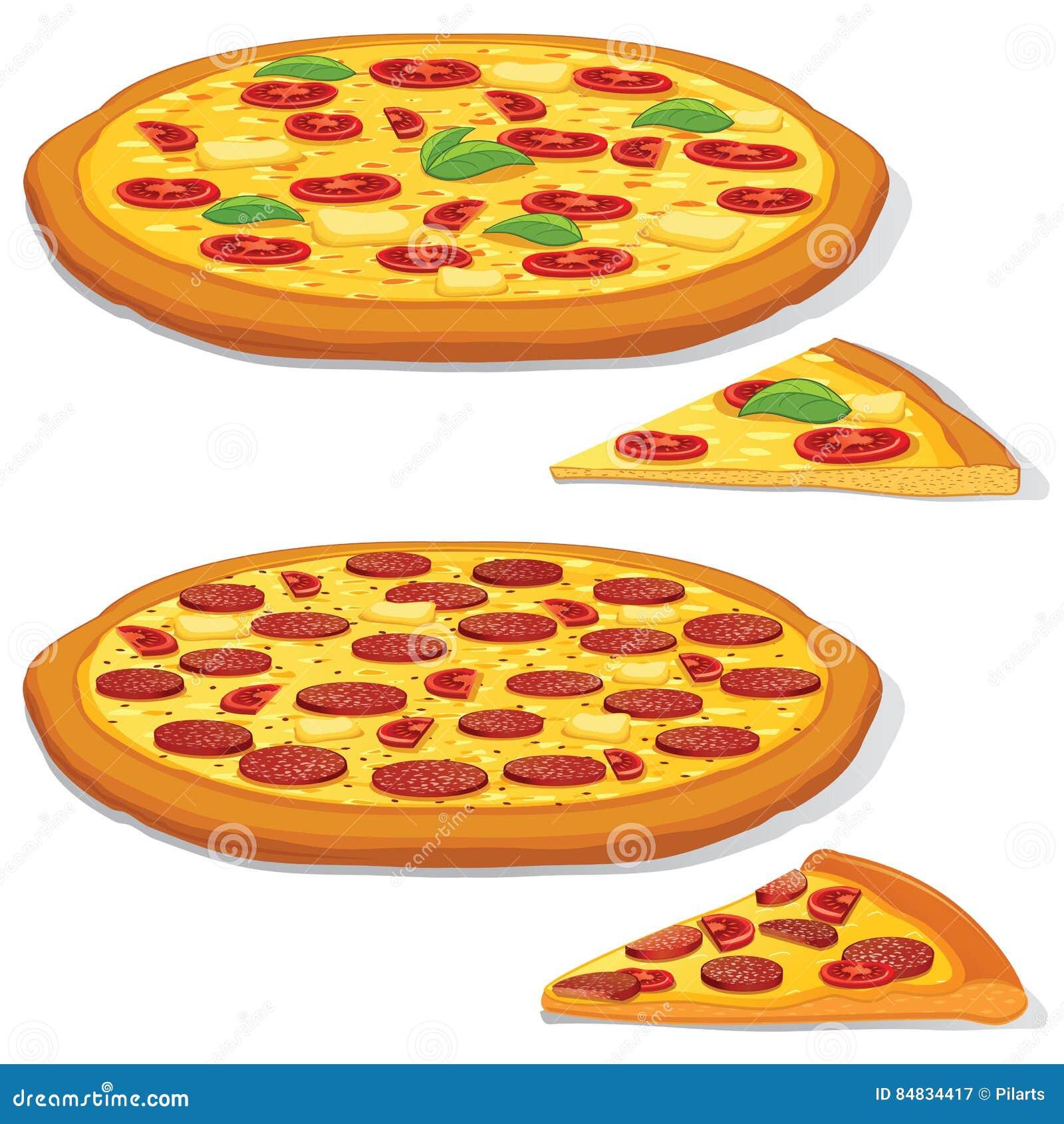 Pepperoni et Margarita Pizza de vecteur