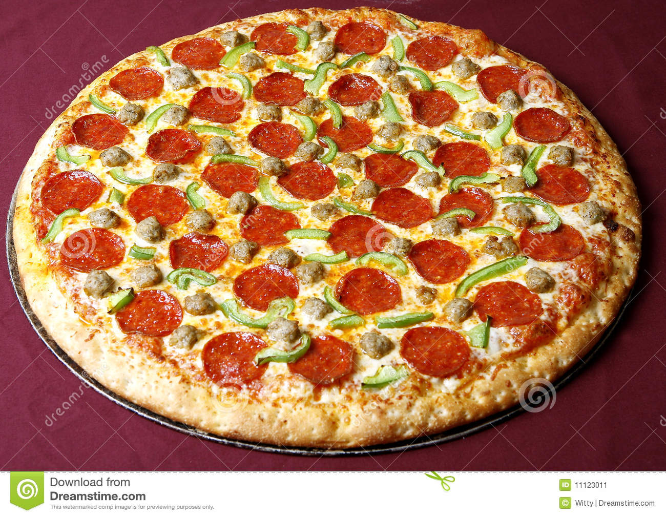 Pepperoni pizza with green pepper spicy and hot.