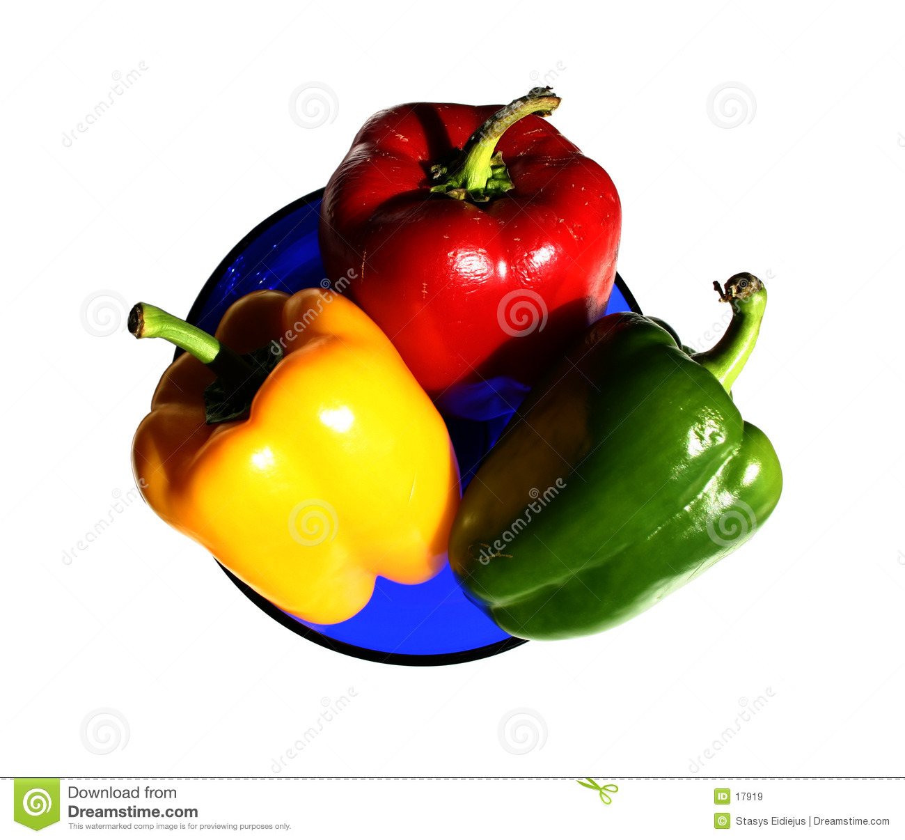 Peppers in the plate, isolated
