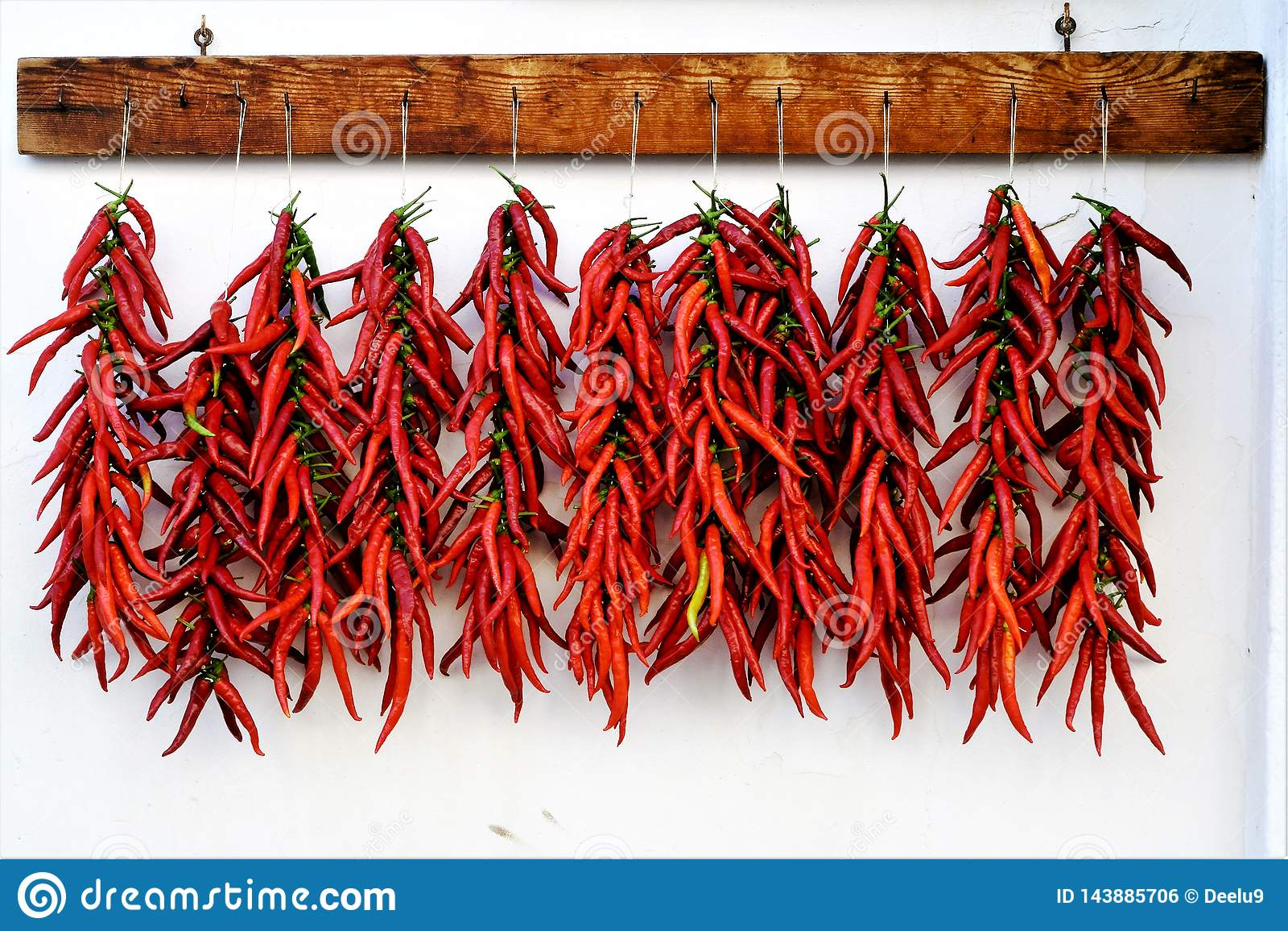 Peppersdrying Calabrian的辣椒在阳光下