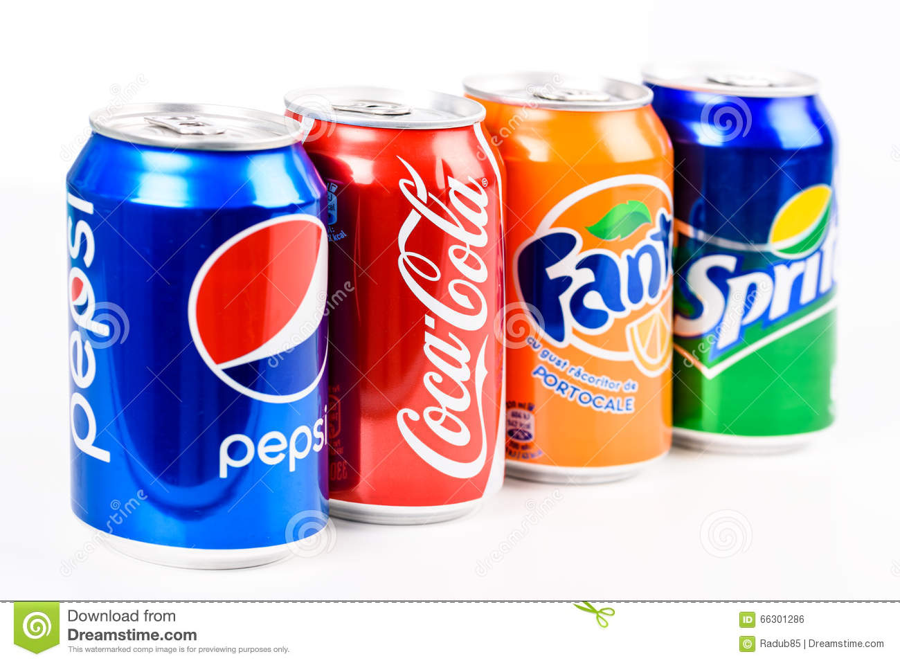Pepsi, Coca Cola, Sprite And Fanta Soda Drinks Editorial