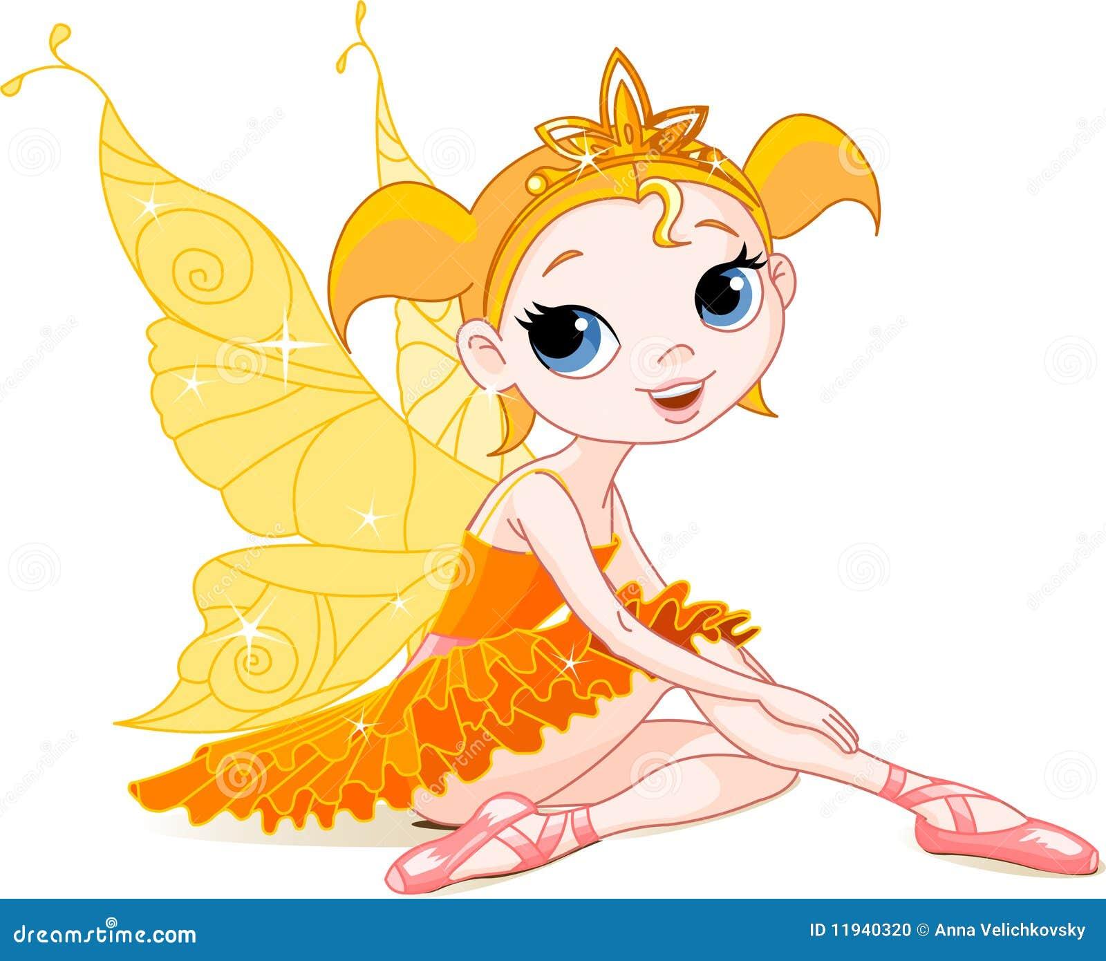 Pequeña bailarina de hadas anaranjada