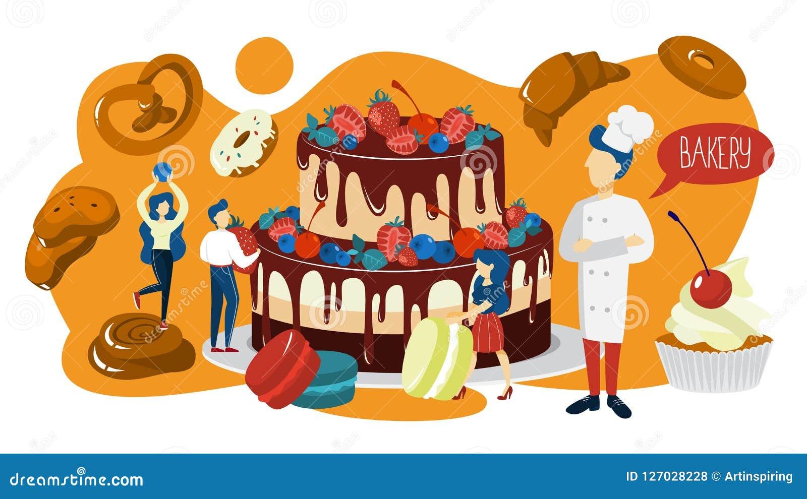 Pequeña gente que cocina una torta gigante para la celebración