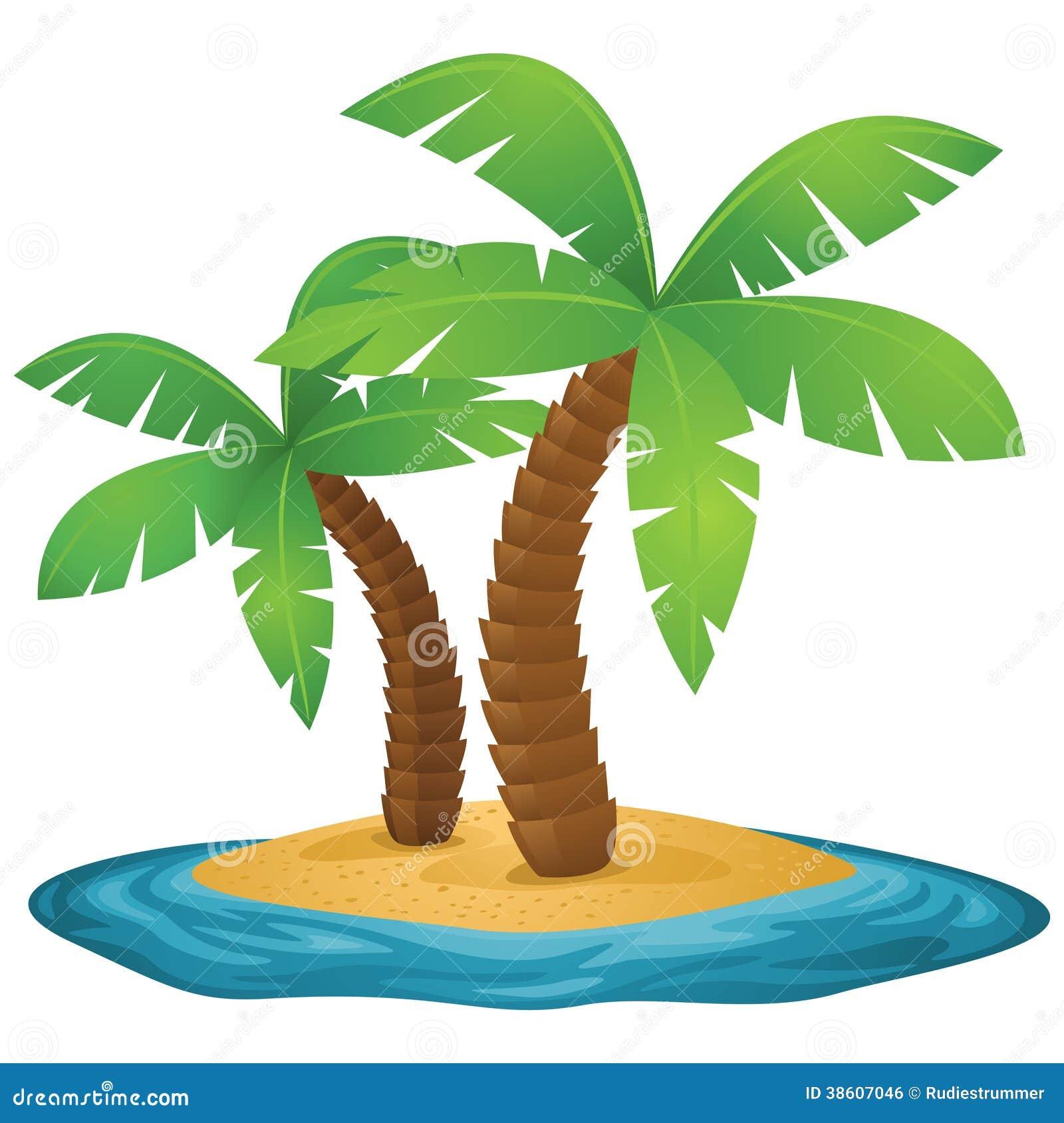 Pequeña Isla Tropical Con Las Palmeras Ilustración Del Vector