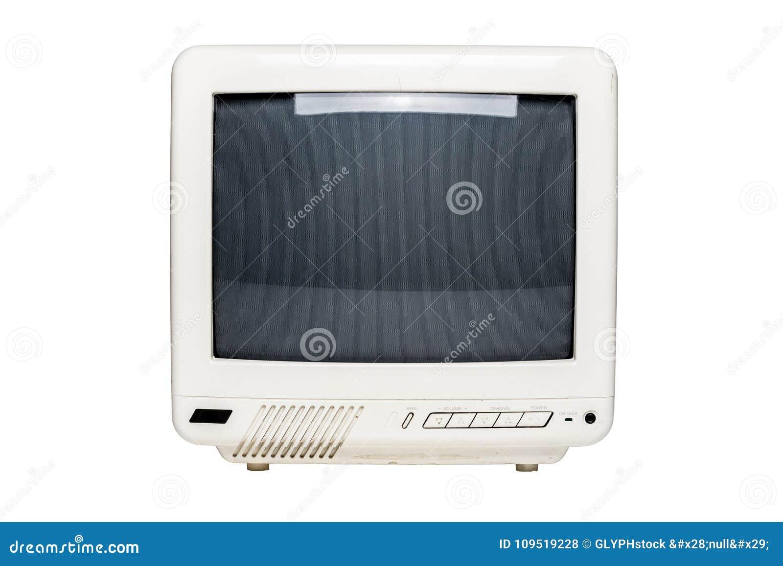 Pequeña televisión del vintage con la pantalla en blanco