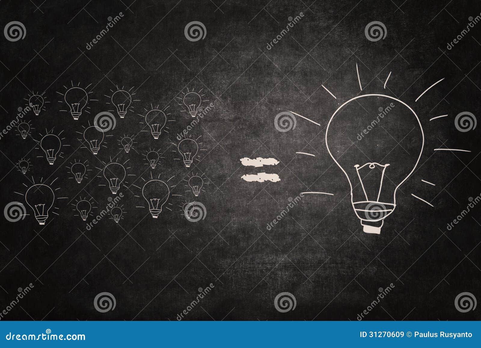 Pequeñas Ideas Del Igual Grande De La Idea En La Pizarra Imagen de ...