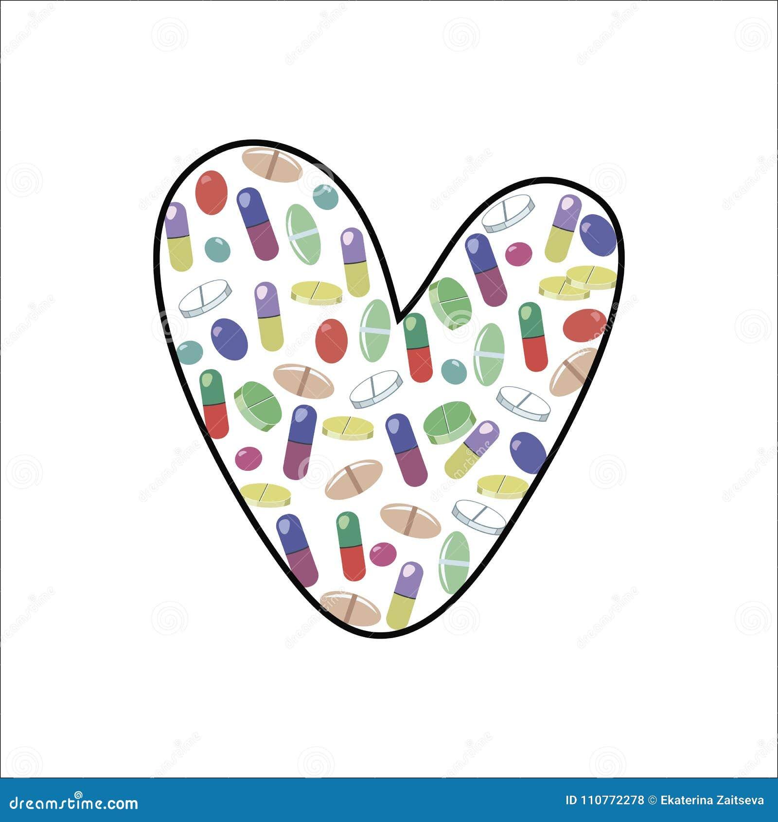 Pequeñas tabletas y píldoras multicoloras brillantes en la forma de un corazón o de la letra L