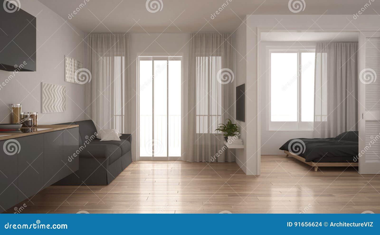Peque o apartamento con la cocina la sala de estar y el for Sala de estar estancia cocina abierta