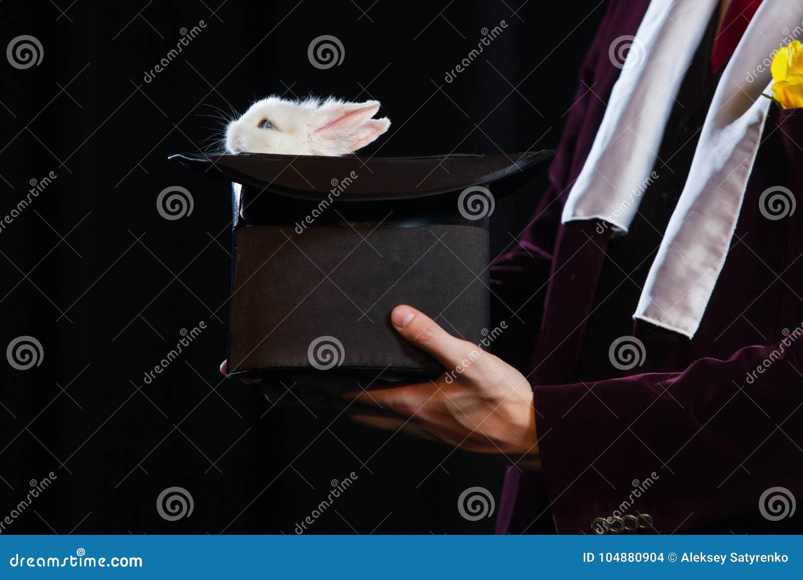 Pequeño conejo en un sombrero del mago en un fondo negro
