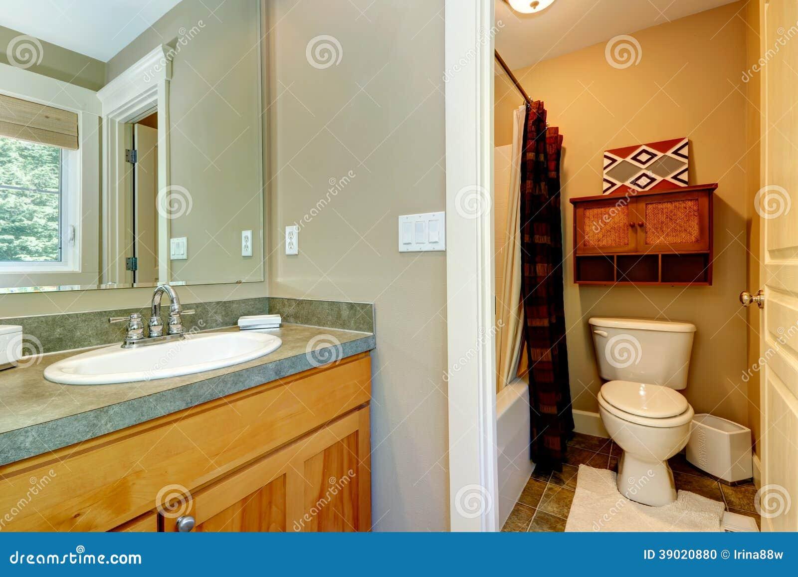 Pequeño Cuarto De Baño En El Dormitorio Principal Foto de archivo - Imagen de americano, diseño ...
