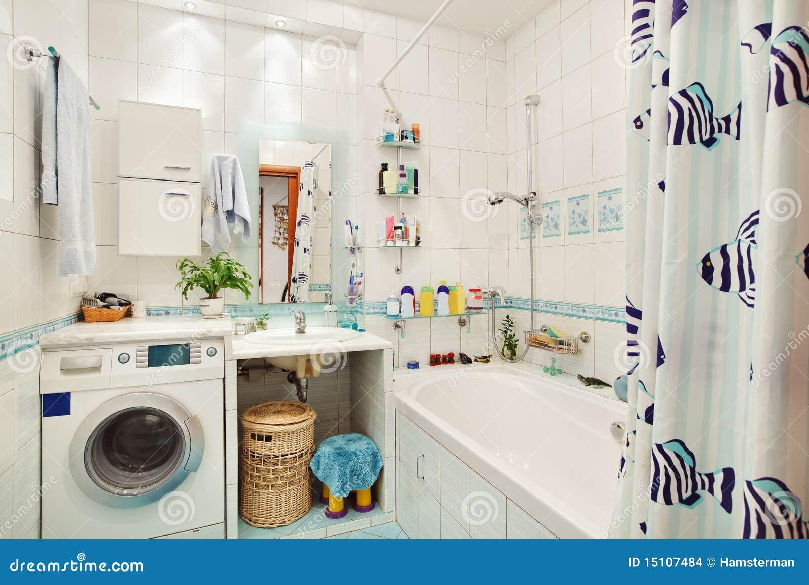 Cuarto De Baño Moderno Fotos:Imagenes de archivo: Pequeño cuarto de baño moderno en azul