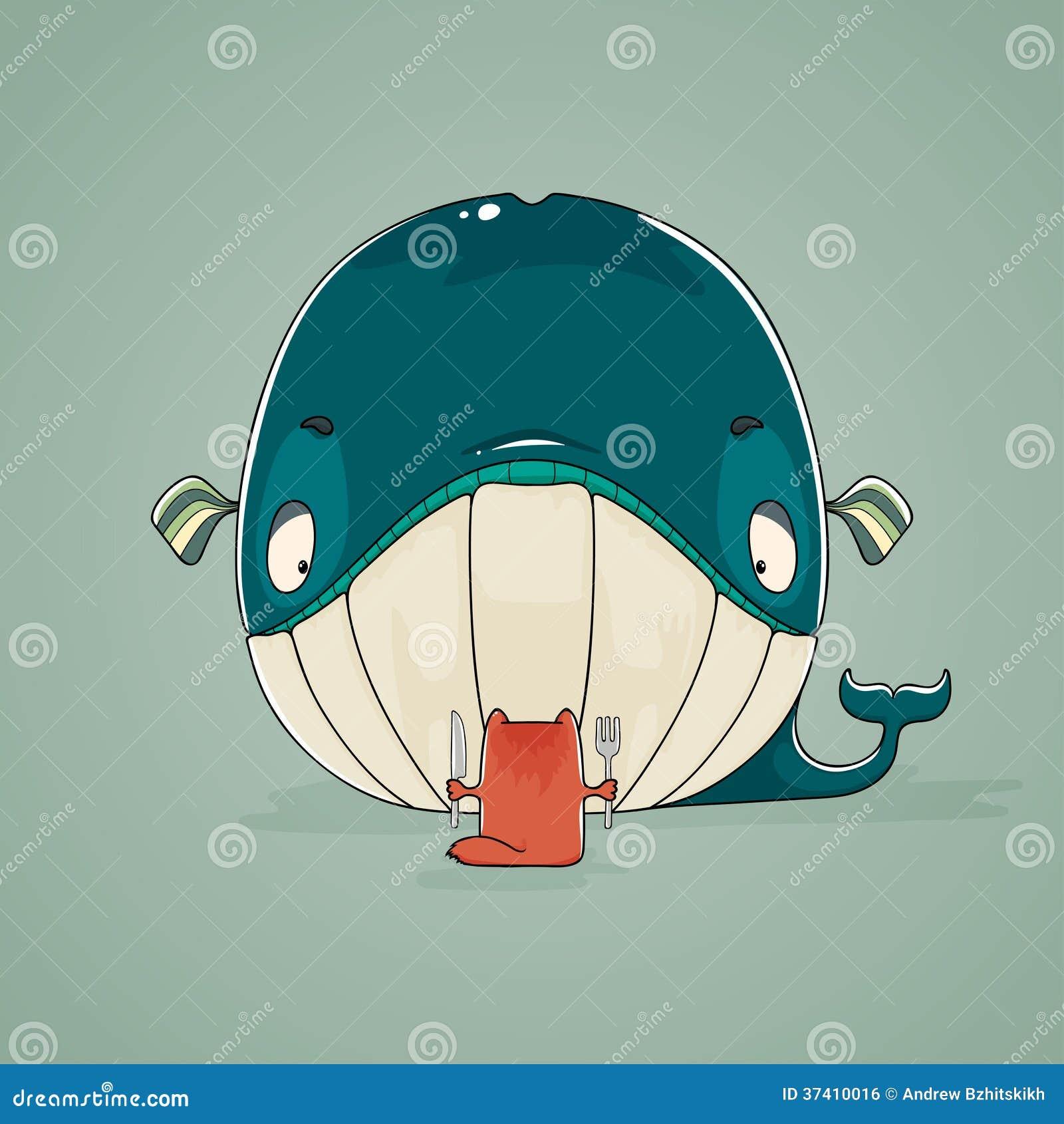 Pequeño gato que se sienta para cenar en una ballena enorme