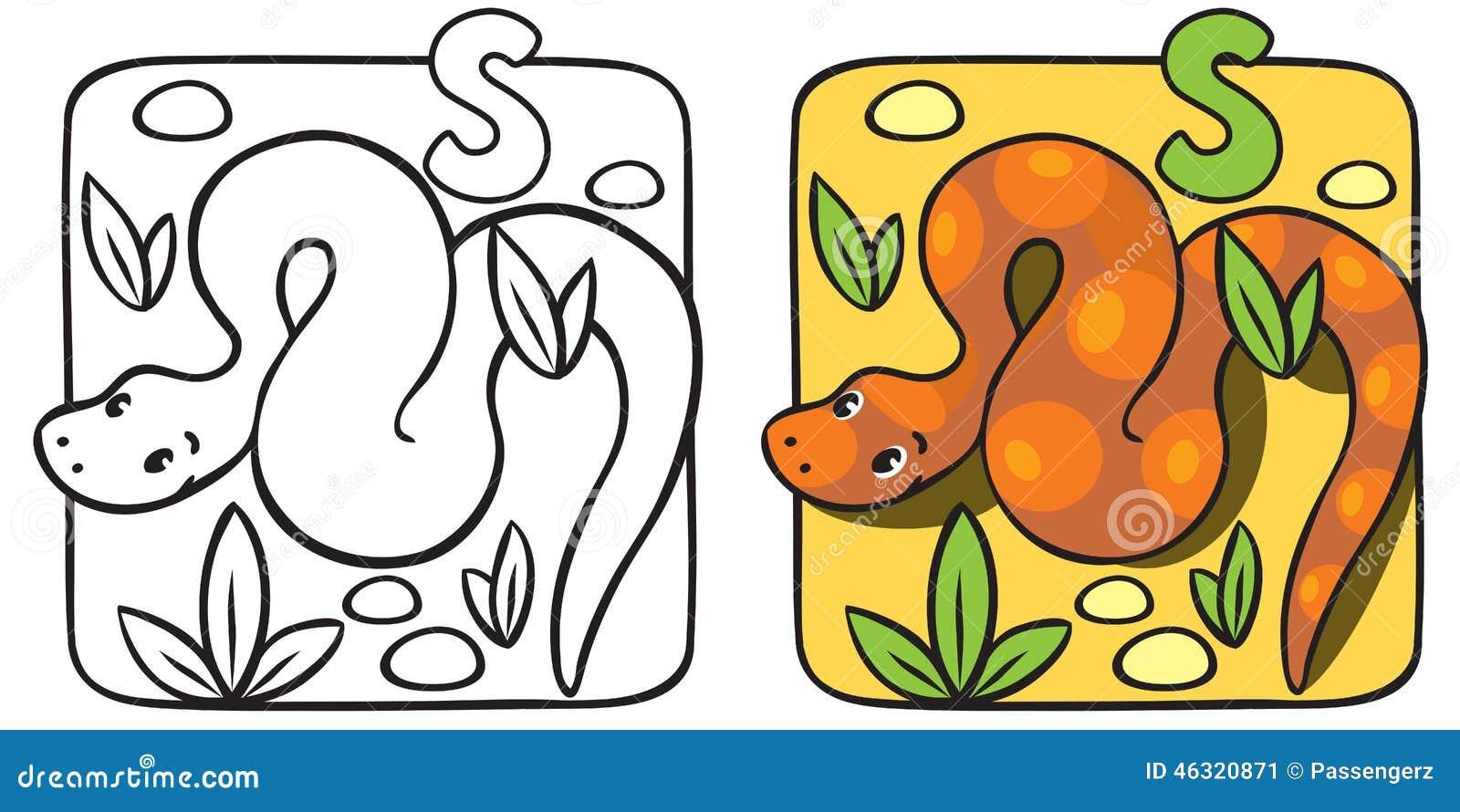 Pequeño Libro De Colorear De La Serpiente Alfabeto S Ilustración del ...