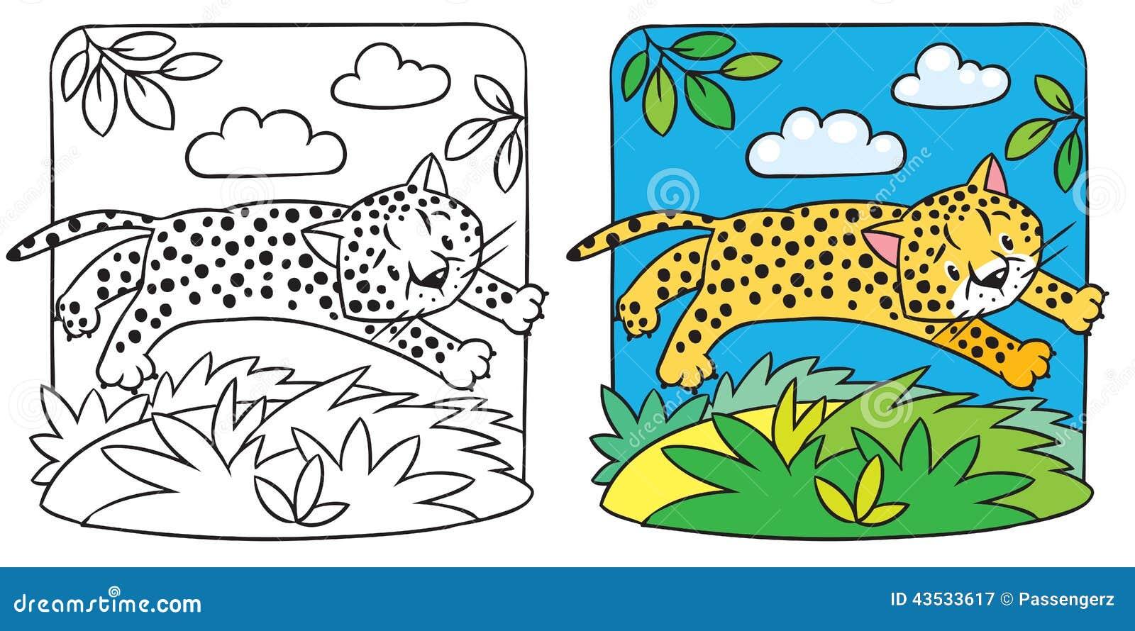 Pequeño Libro De Colorear Del Guepardo O Del Jaguar Ilustración Del