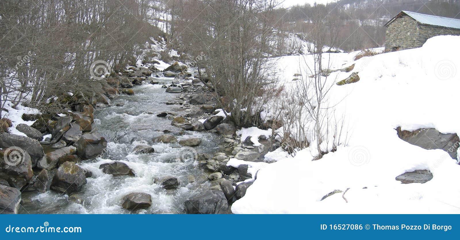 Pequeño río salvaje en el montaje