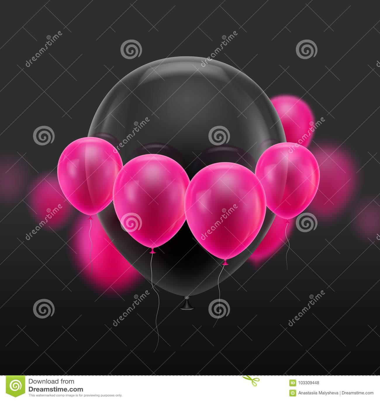 Pequeño rosa rodeado bola negra
