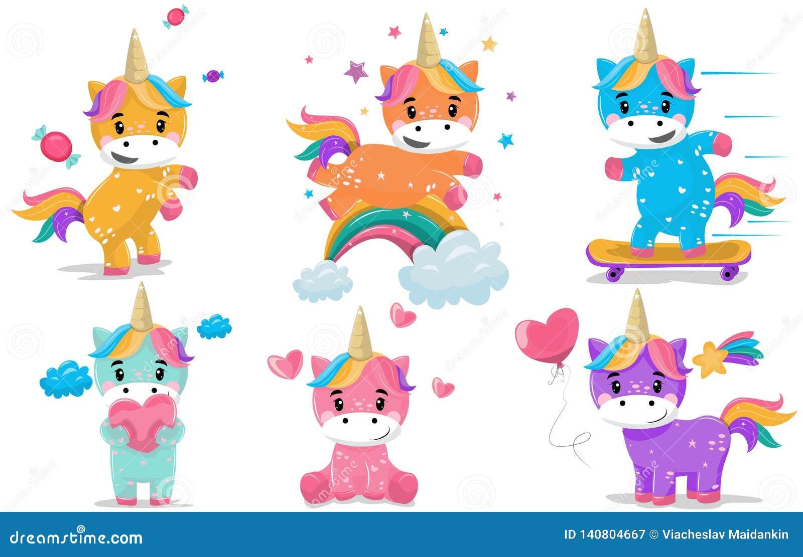 Pequeño sistema de hadas mágico del ejemplo del vector de la historieta de los unicornios de la fantasía del potro