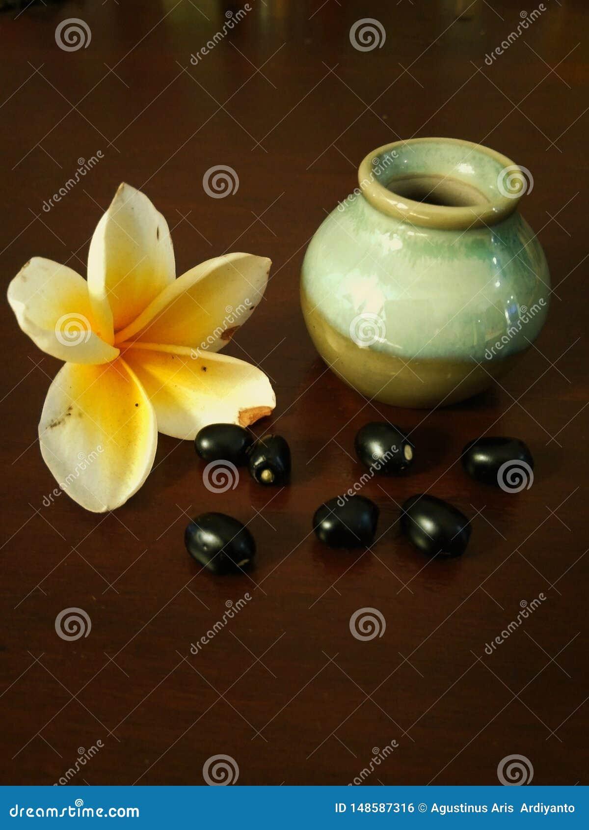 Pequeño tarro con las flores y los granos del frangipani
