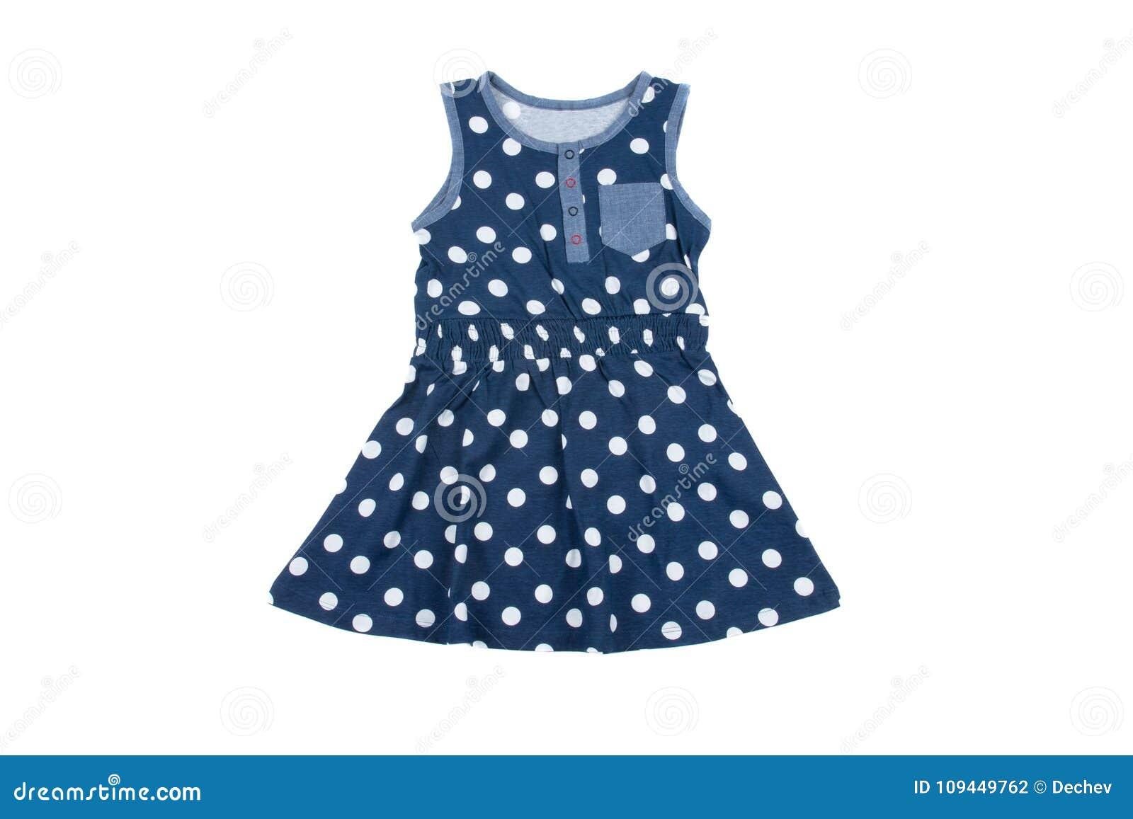 Pequeño Vestido Azul Del Lunar Para Las Muchachas Aislado