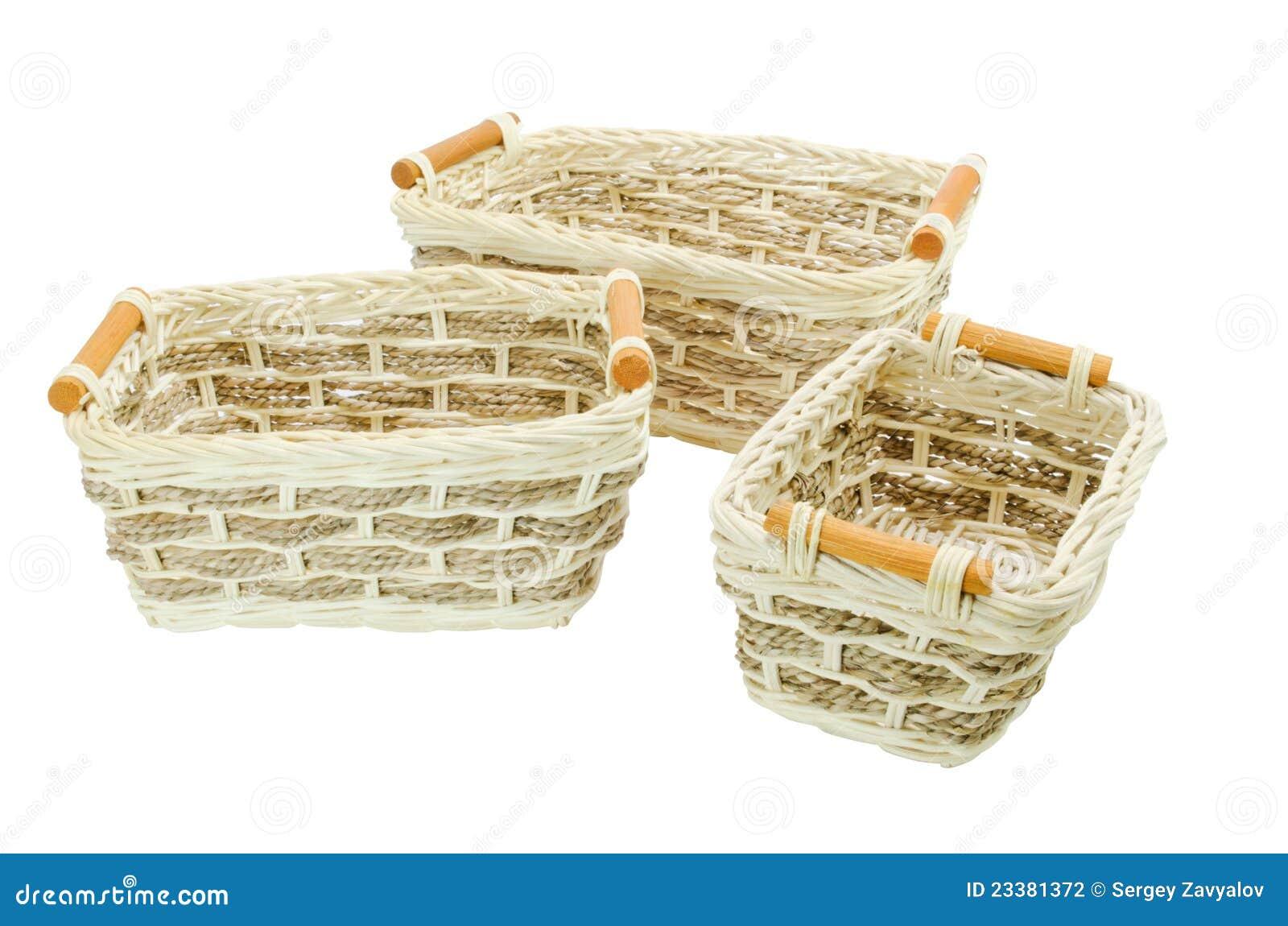 Peque as cestas de mimbre fotograf a de archivo imagen - Cestas de mimbre pequenas ...