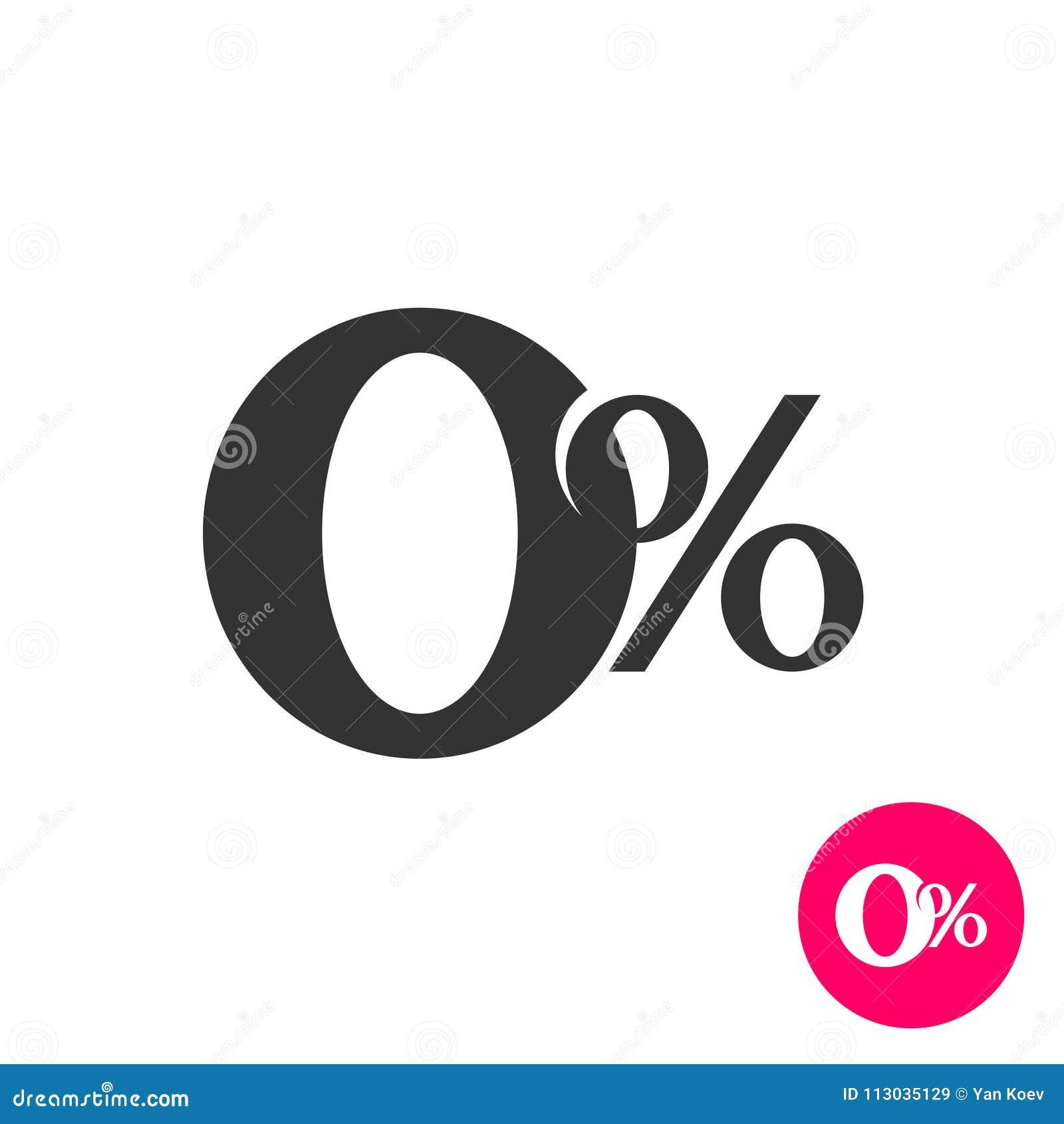 0 per cento Simbolo zero delle percentuali Nessun segno della commissione