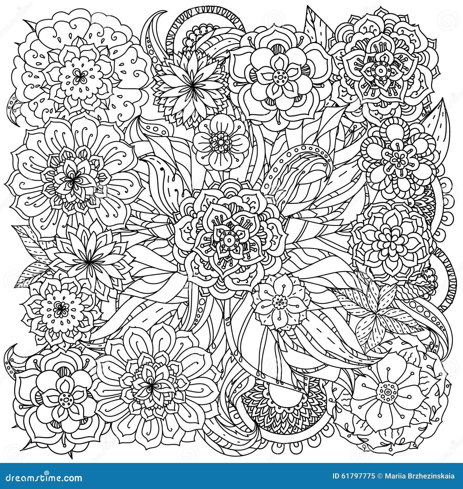 Per il libro da colorare illustrazione vettoriale - Libri da colorare di fiori ...
