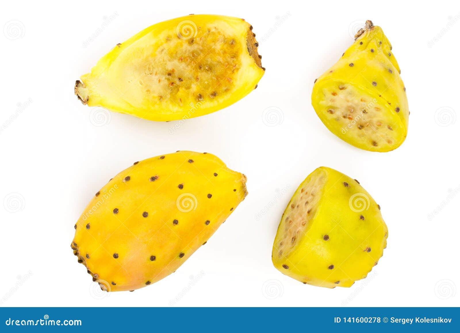 Pera espinhosa ou opuntia amarelo isolada em um fundo branco Vista superior Configuração lisa