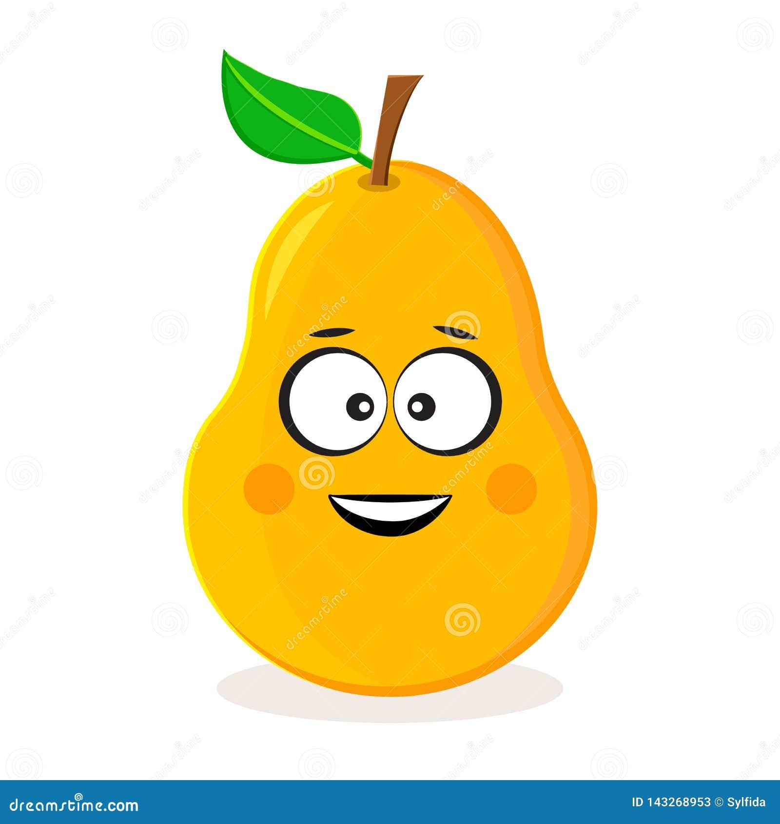 Pera gialla del fumetto Emoticon della frutta Illustrazione di vettore
