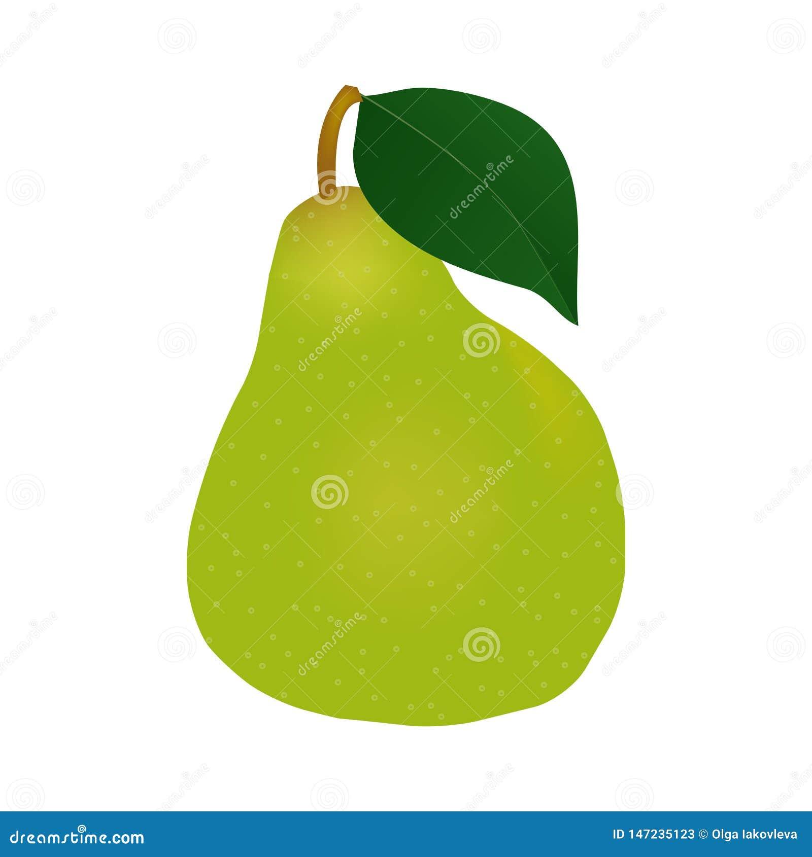 Pera verde fresca com folha