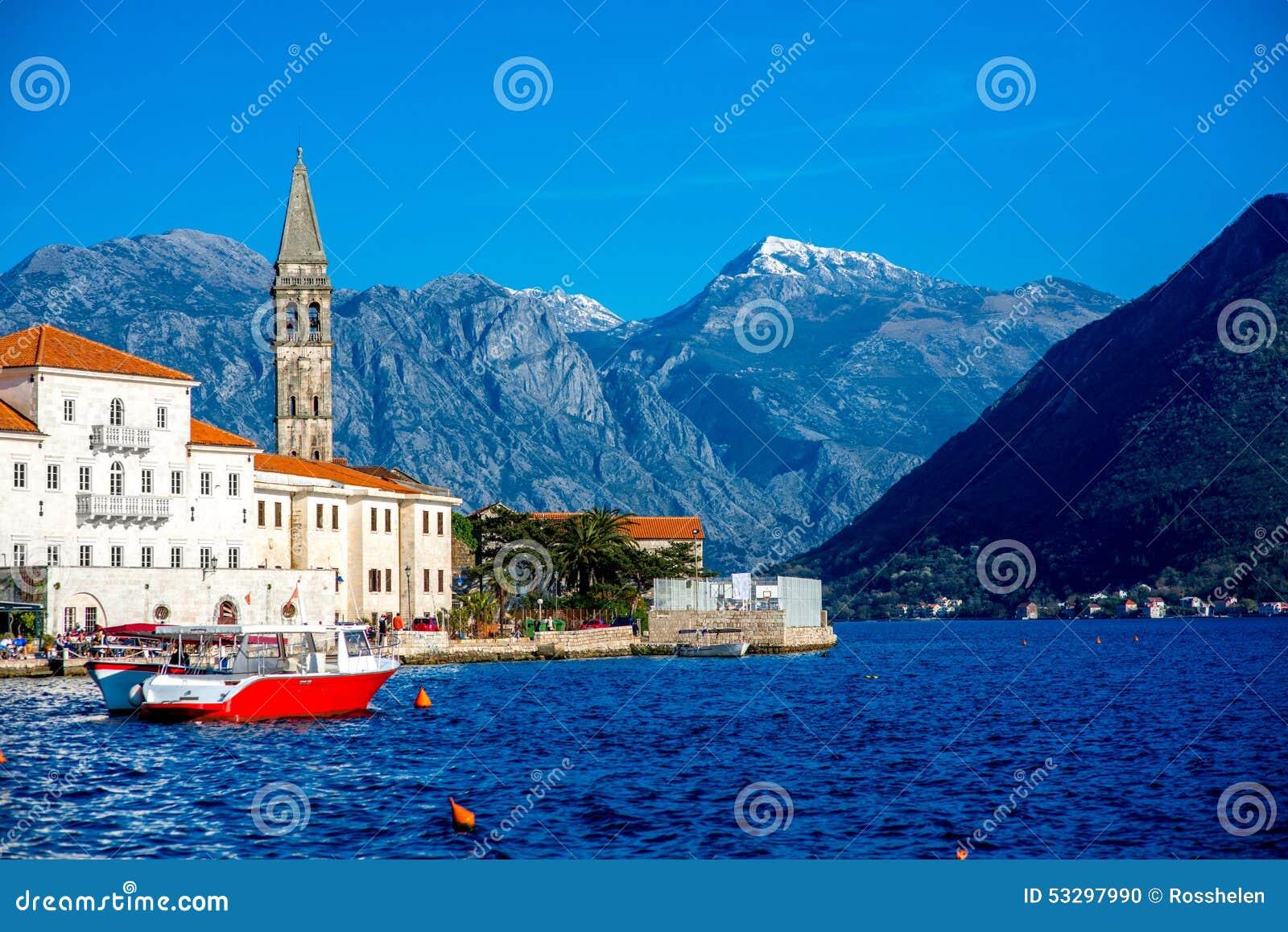 Perast city in Kotor bay