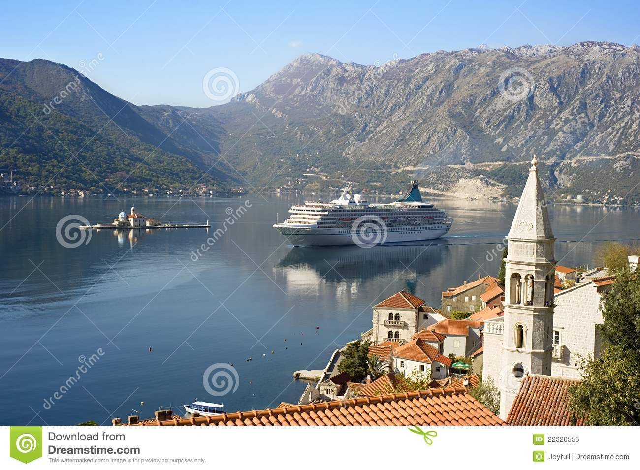... Perast with Church Our Lady of the rocks and cruise liner. Montenegro
