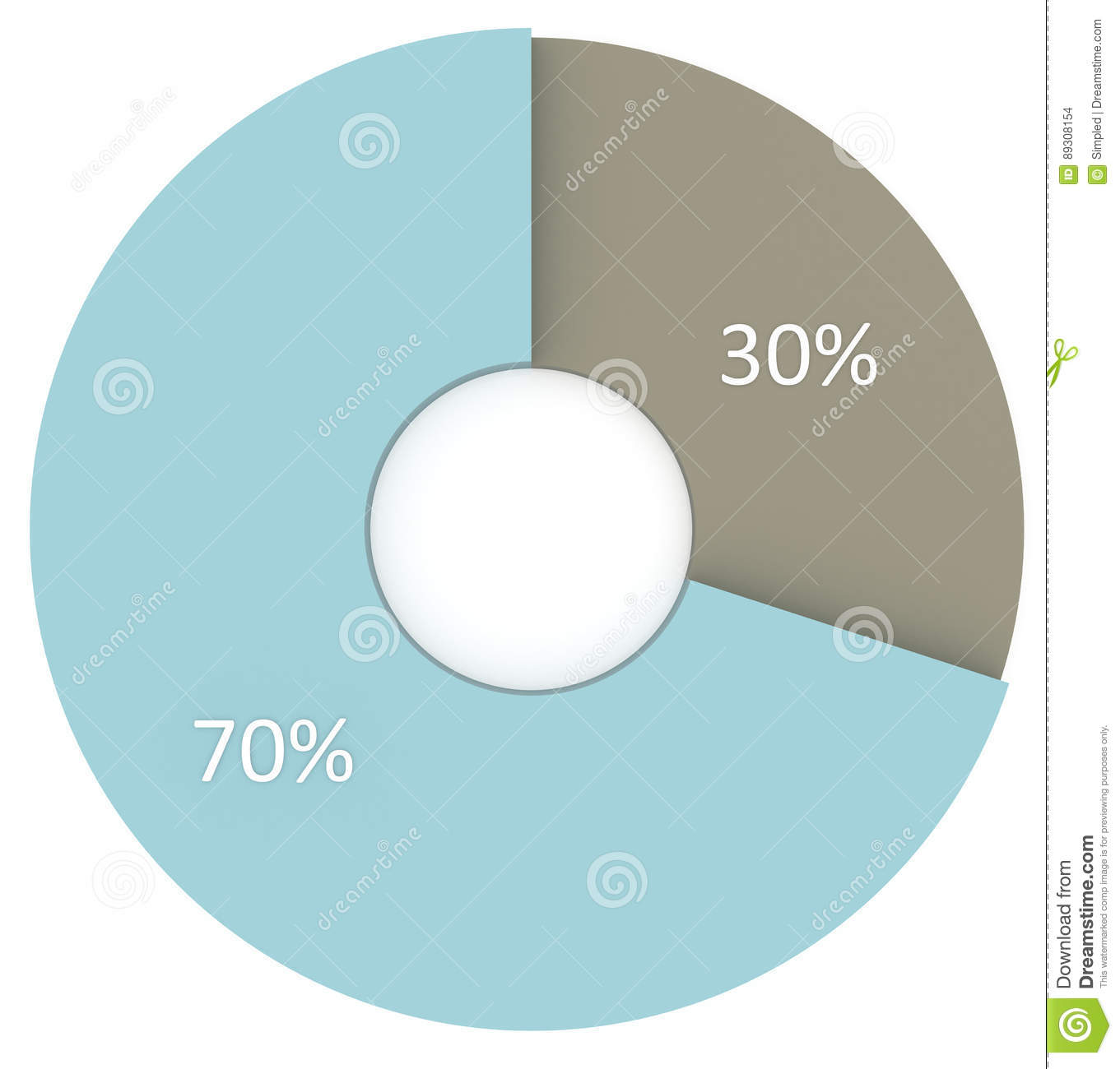 30 percent blue and grey circle diagram isolated. 3d render pie chart