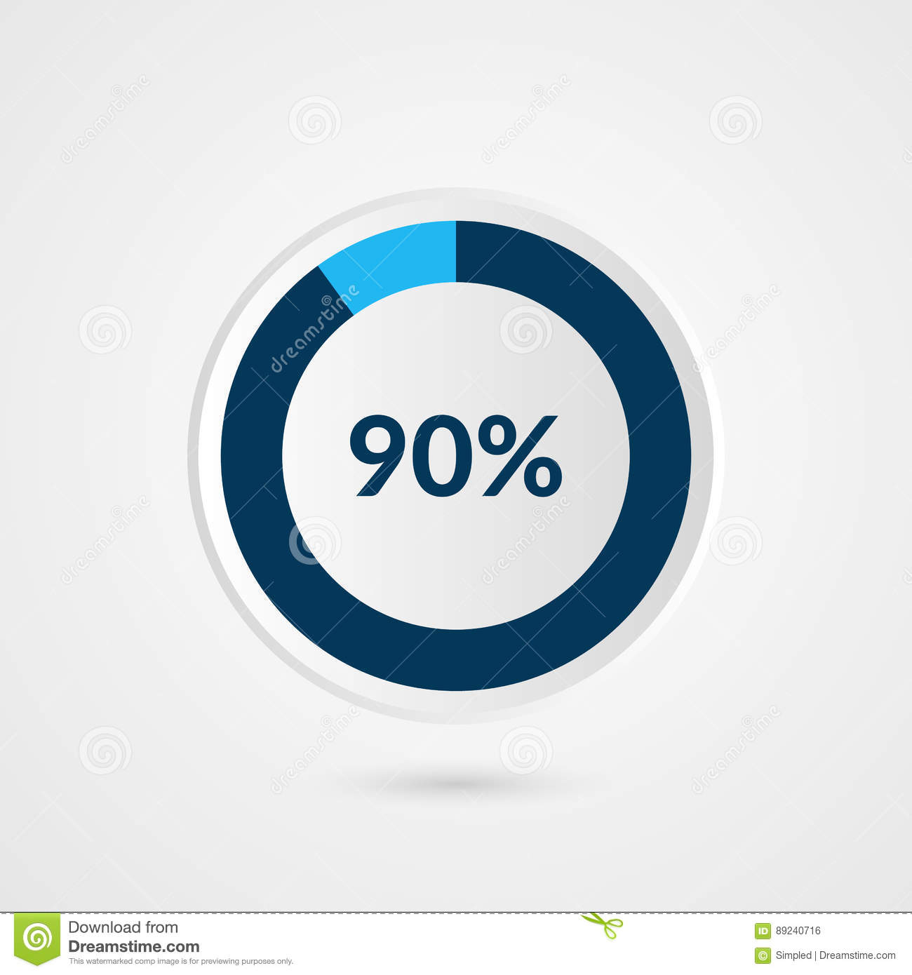90 Percent Blue Grey And White Pie Chart Percentage Vector Info