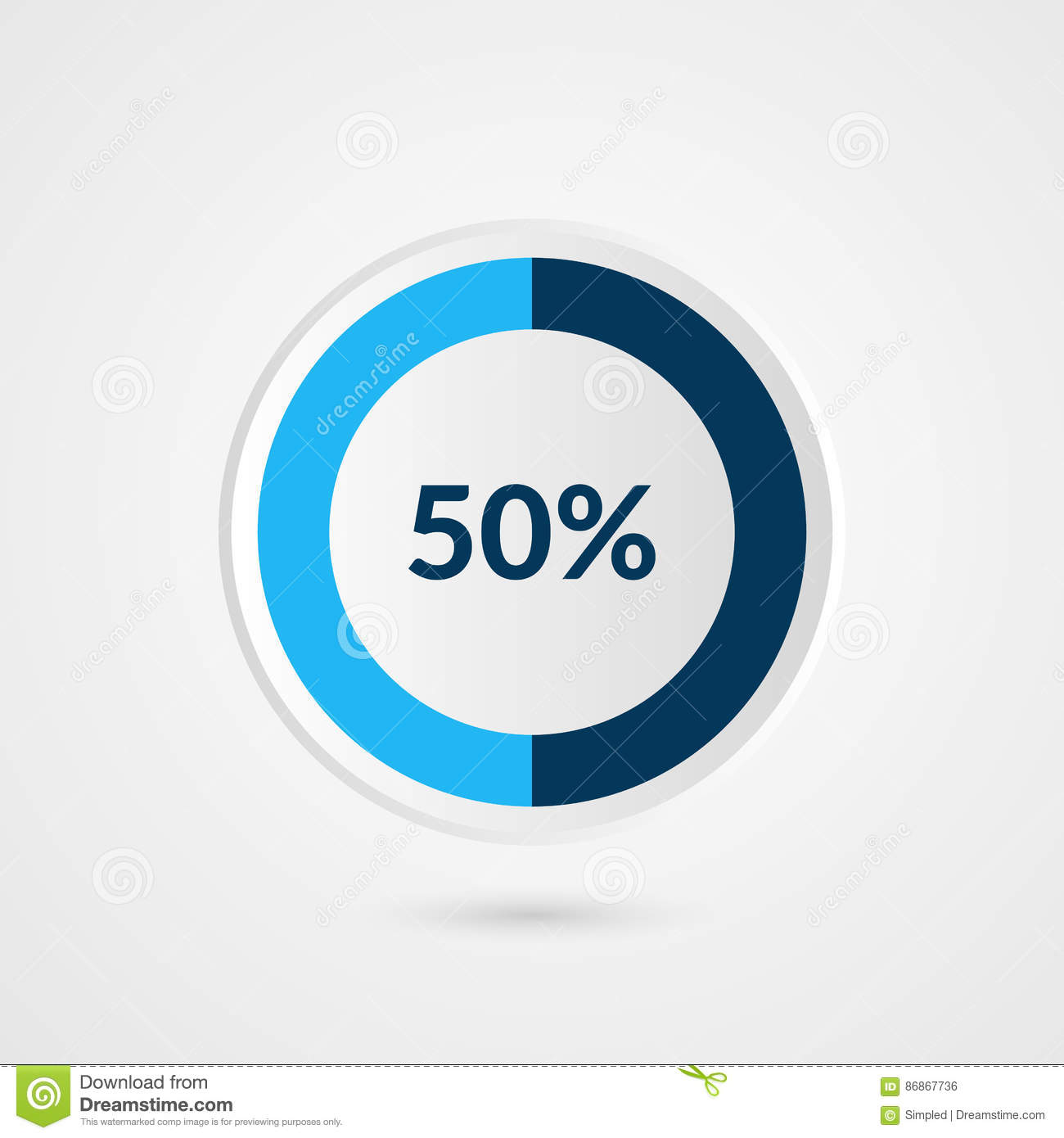 55 percent blue pie chart percentage vector infographics circle 50 percent blue grey and white pie chart percentage vector infographics circle diagram business ccuart Choice Image