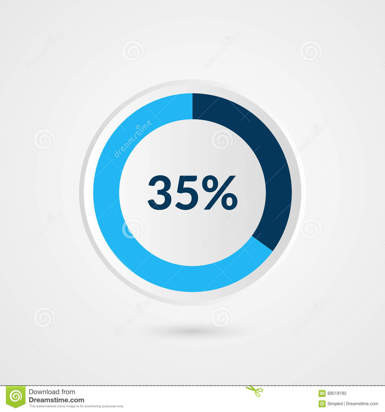 35 percent blue grey and white pie chart percentage vector 35 percent blue grey and white pie chart percentage vector infographics circle diagram business illustration ccuart Choice Image