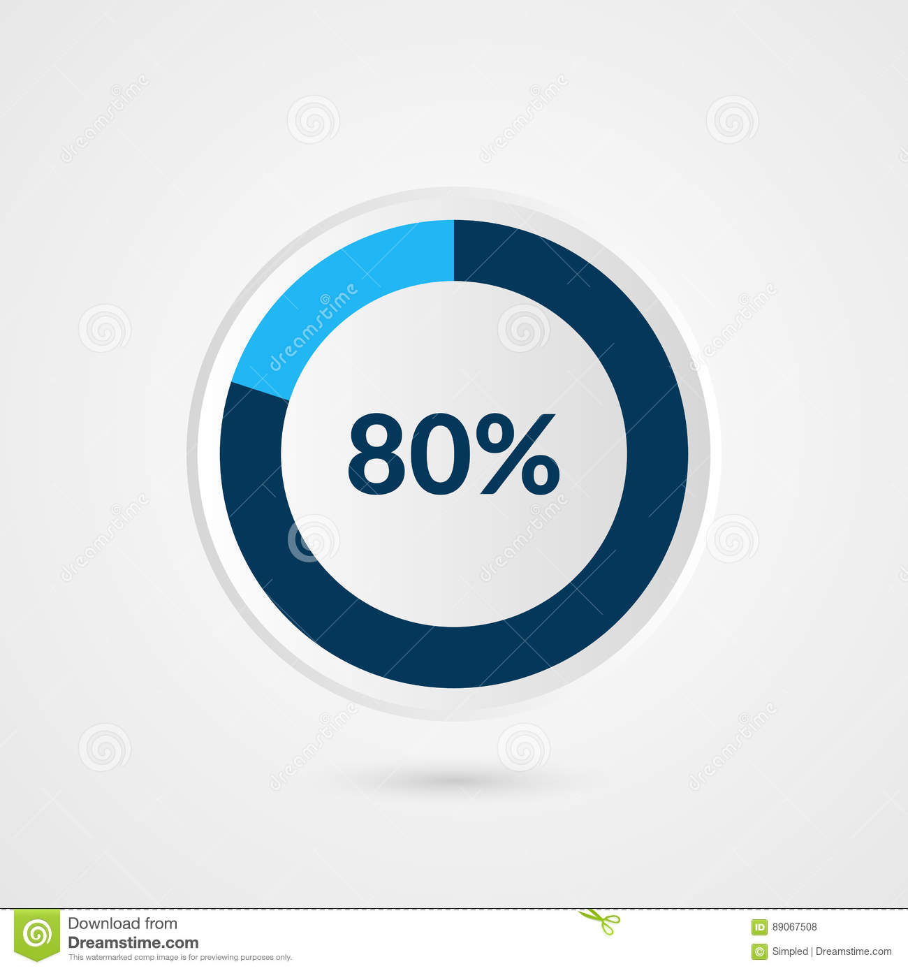 80 Percent Blue Grey And White Pie Chart Percentage Vector
