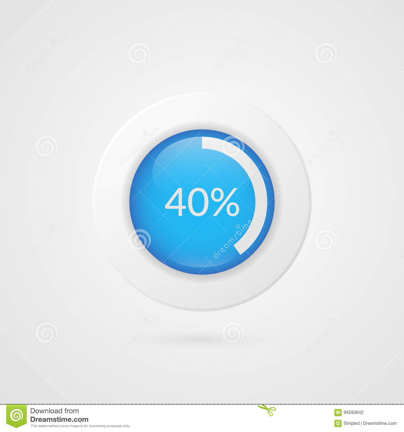40 Percent Blue Pie Chart Percentage Vector Infographics Circle