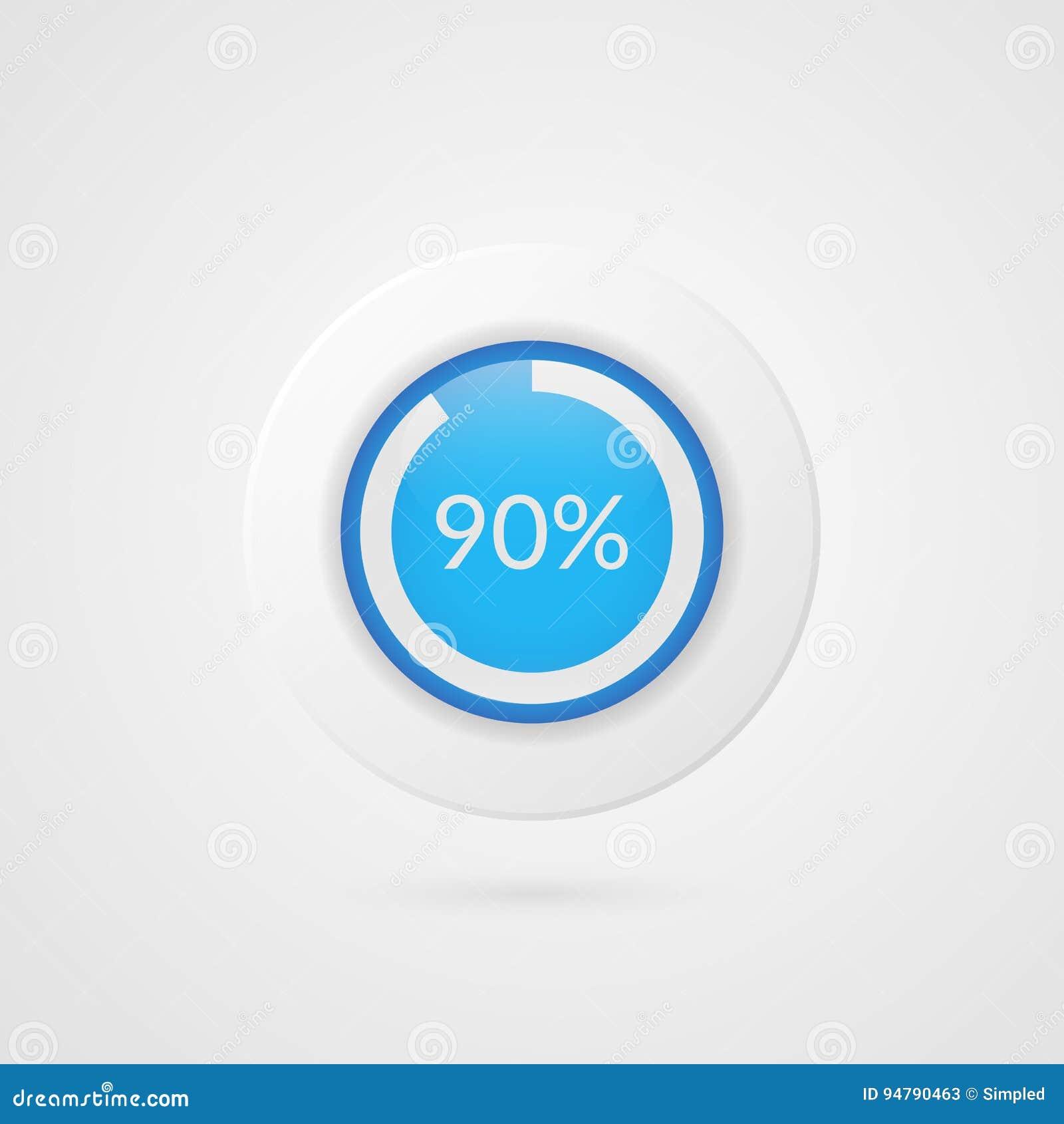 90 Percent Blue Pie Chart Percentage Vector Infographics Ninety