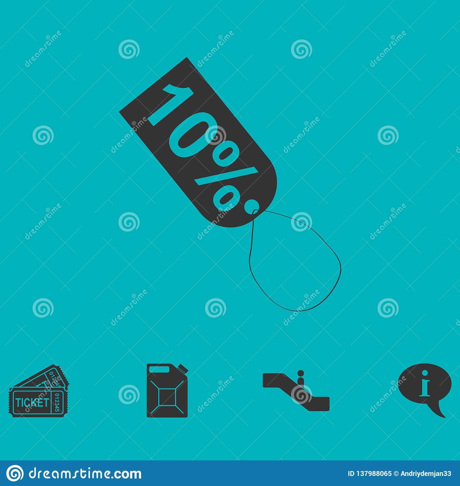 10 percent discount icon flat