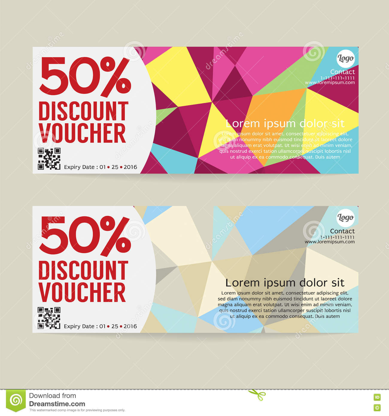 50 percent discount voucher template  stock vector