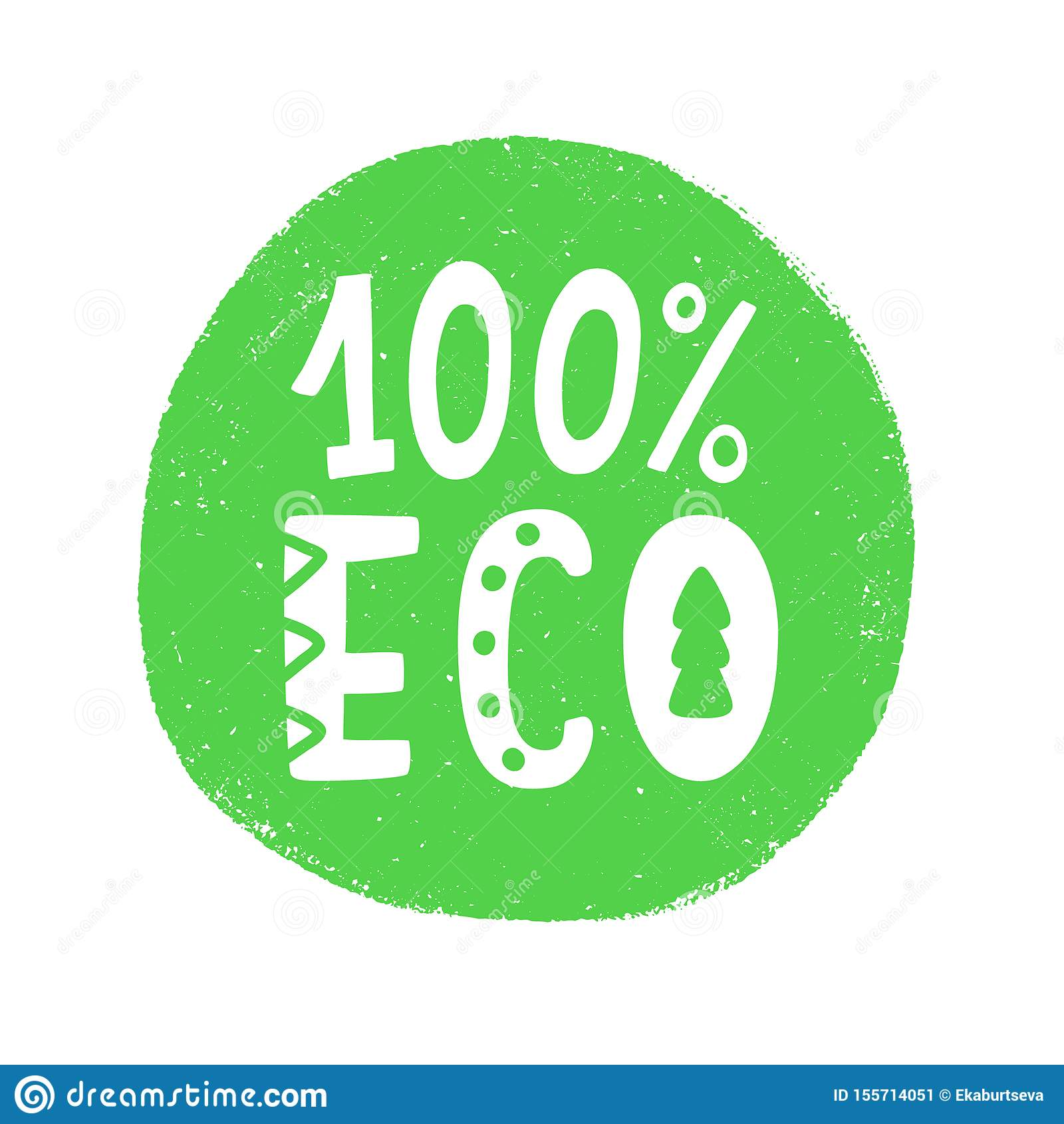 100 Percent Eco Food Green Sign, Natural Organic Vector