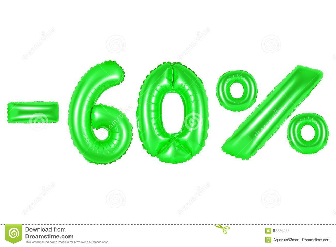 60 percent, green color stock photo. Image of numeric - 99996456