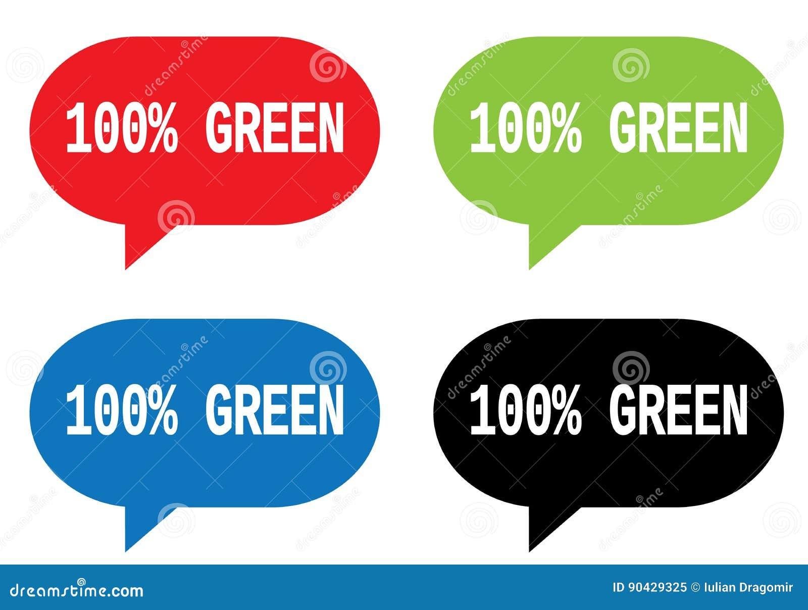 100 percent green text on rectangle speech bubble sign