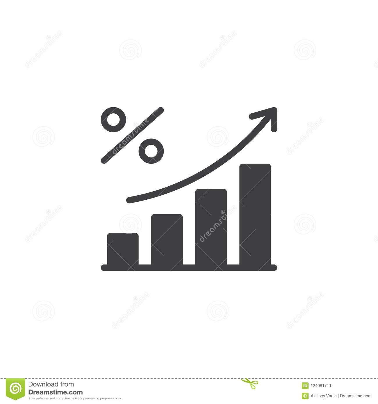 Percent Growing Graph Vector Icon Stock Vector