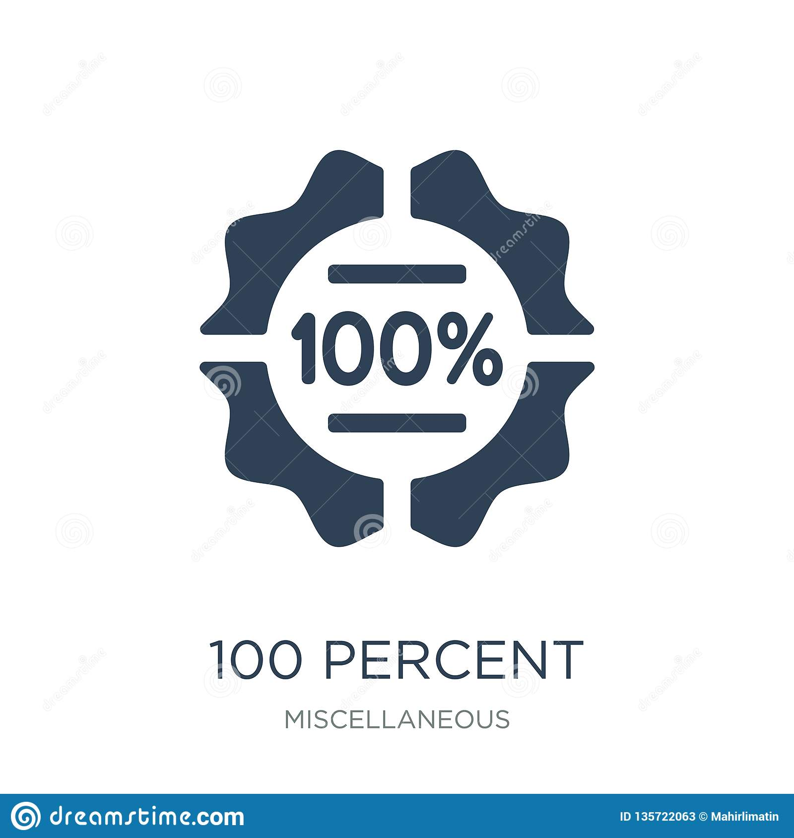 100 percent icon in trendy design style. 100 percent icon isolated on white background. 100 percent vector icon simple and modern