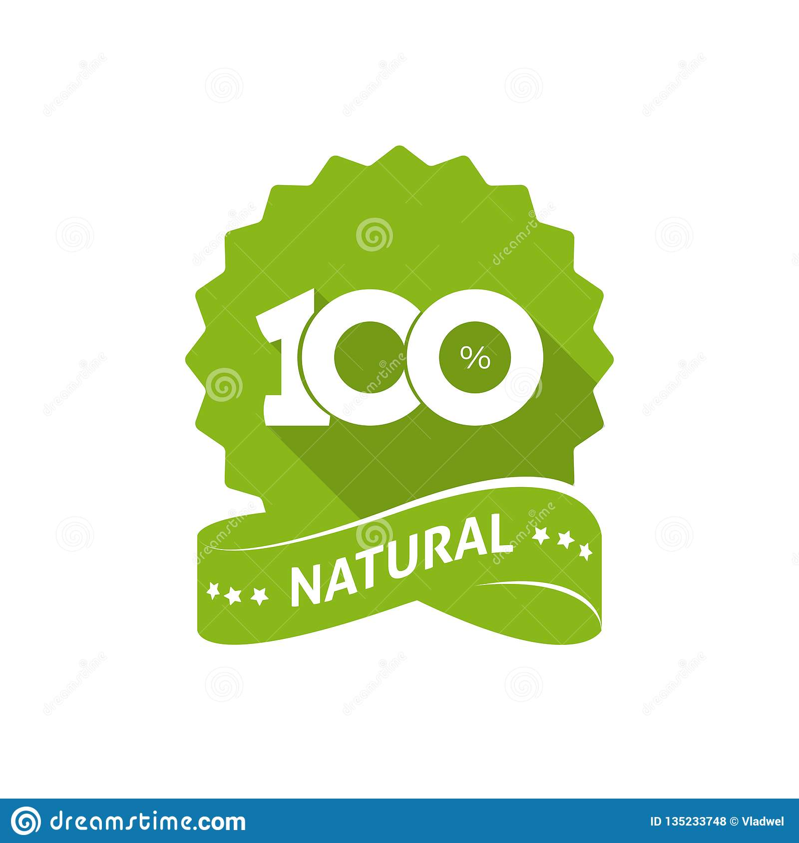 100 Percent Natural Vector Green Label With Ribbon