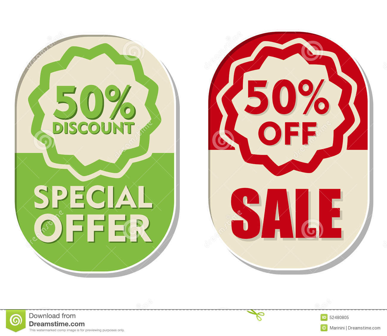 50 Percent Off Discount, Sale And Special Offer, Two ...