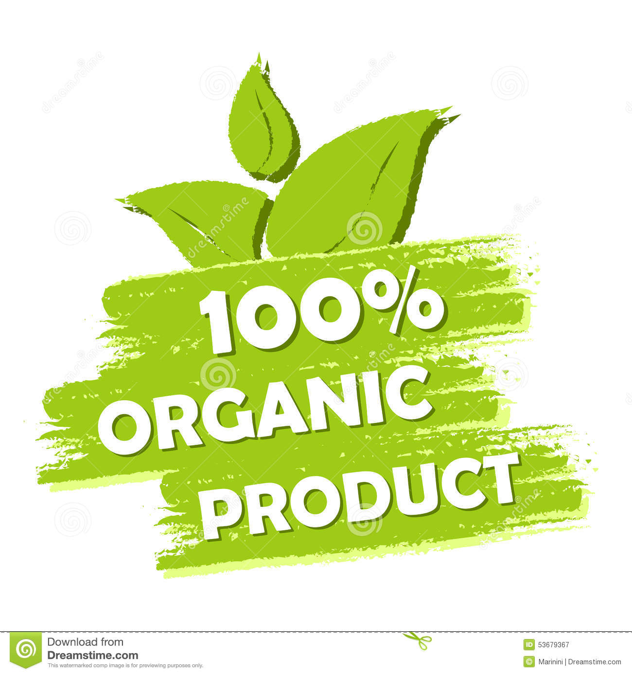 100 Percent Organic Product With Leaf Sign Green Drawn
