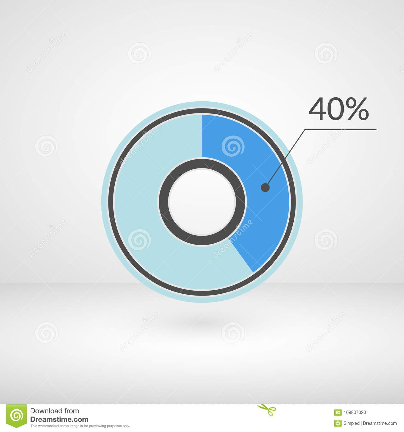 40 Percent Pie Chart Isolated Symbol Percentage Vector Infographic