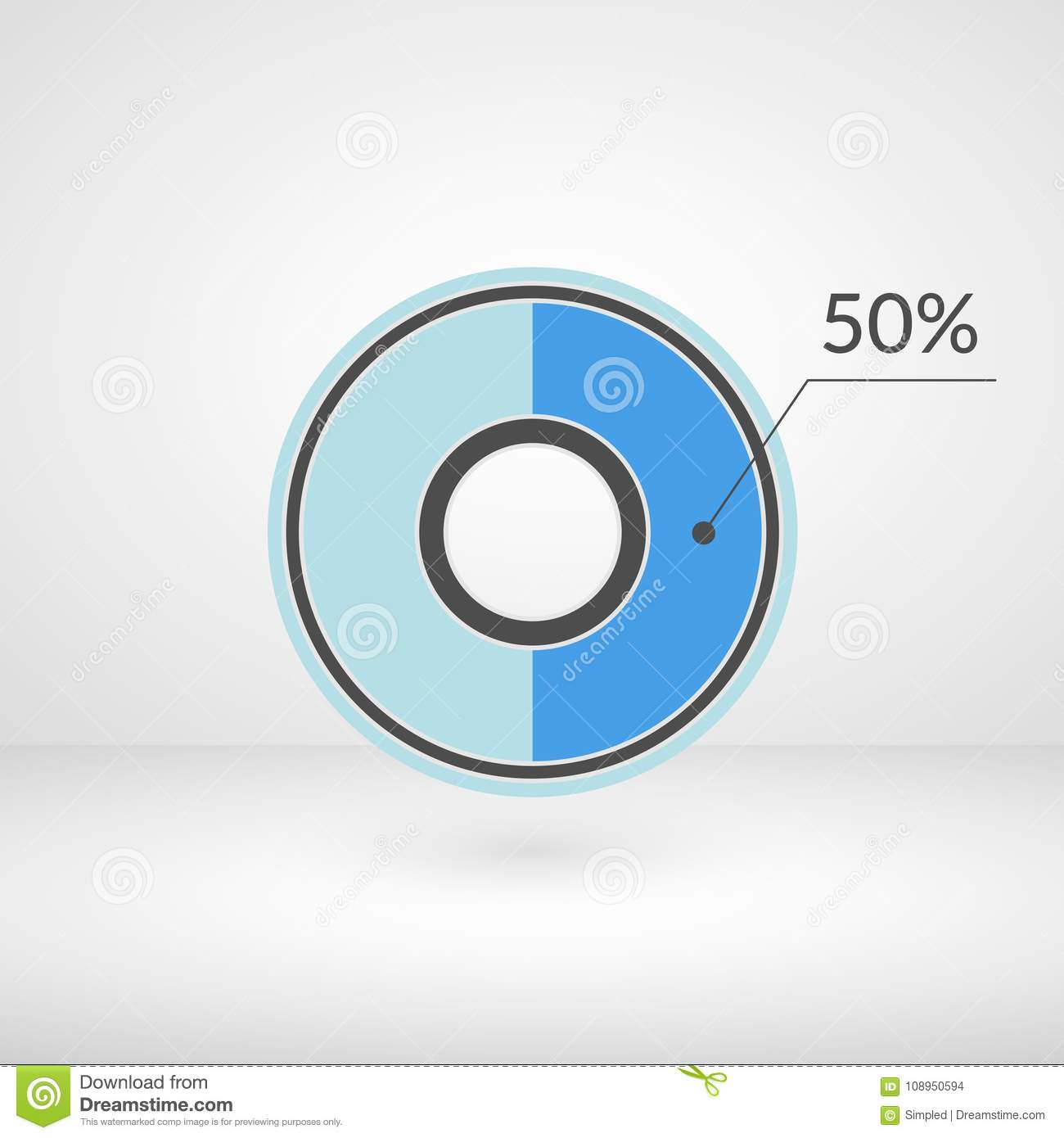 50 Percent Pie Chart Isolated Symbol Percentage Vector Infographics